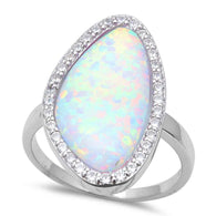Cabochon White Opal Halo Ring