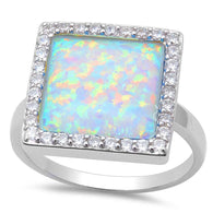 White Opal Princess Cabochon Halo Ring