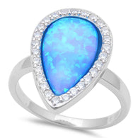 Pear Halo Blue Opal Ring