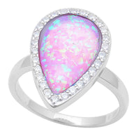 Pear Halo Pink Opal Ring