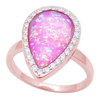Pear Halo Pink Opal Rose Gold Ring