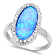 Blue Bar Halo Opal Ring