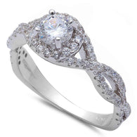 Round Halo Twisted Band Bridal Engagement Ring
