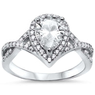 Pear Pavé Halo Twisted Band Bridal Engagement Ring