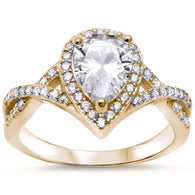 Pear Pavé Halo Twisted Band Bridal Yellow Gold Engagement Ring