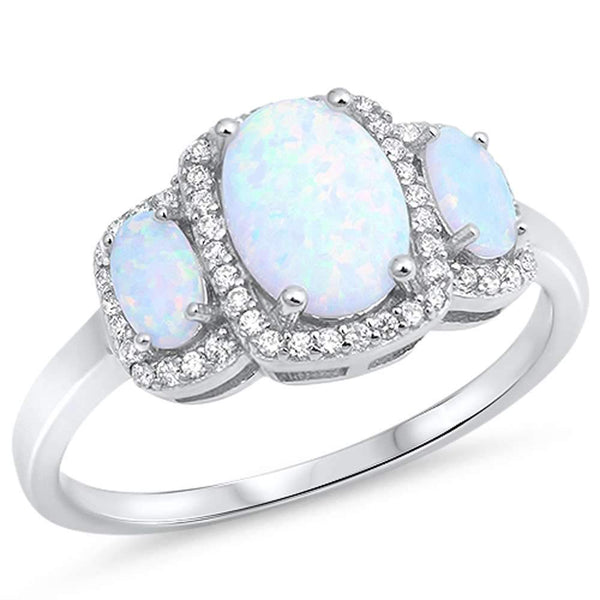 Oval White Opal Trio Halo Ring