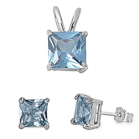 Square Aquamarine Solitaire