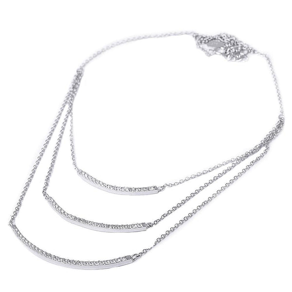 Triple Threat Curved Bar Necklace