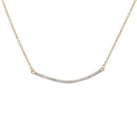 Yellow Gold Curved Bar Necklace