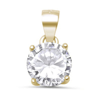 Yellow Gold Round Solitaire Pendant Necklace