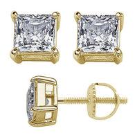 Yellow Gold Princess Stud Earrings