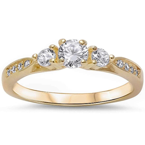 3 Stone Round Cut Promise Bridal Yellow Gold Ring
