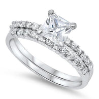Princess Solitaire Pave Silver Bridal Set