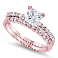 Princess Solitaire Pave Rose Gold Bridal Set
