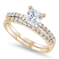 Princess Solitaire Pave Gold Bridal Set