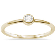 Yellow Gold Simple Band Stud Ring