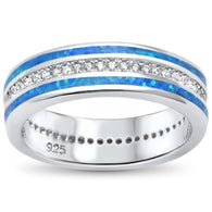 Blue Opal Inlay Guard with Pave Center Band