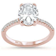 Oval Solitaire Pavé Bridal Engagement Rose Gold Ring
