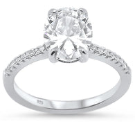 Oval Solitaire Pavé Bridal Engagement Ring