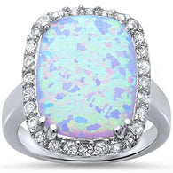 White Opal Cushion Halo Cocktail Ring