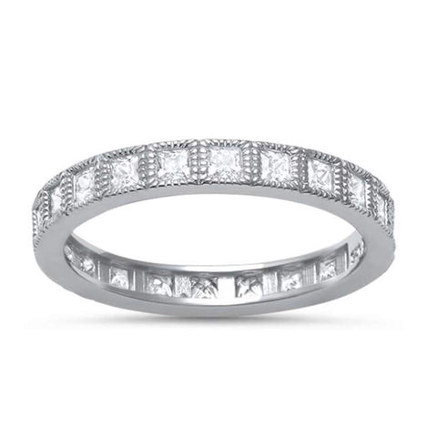 Princess Cut Antique Eternity Band Ring
