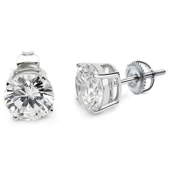 Silver Round Stud Earrings