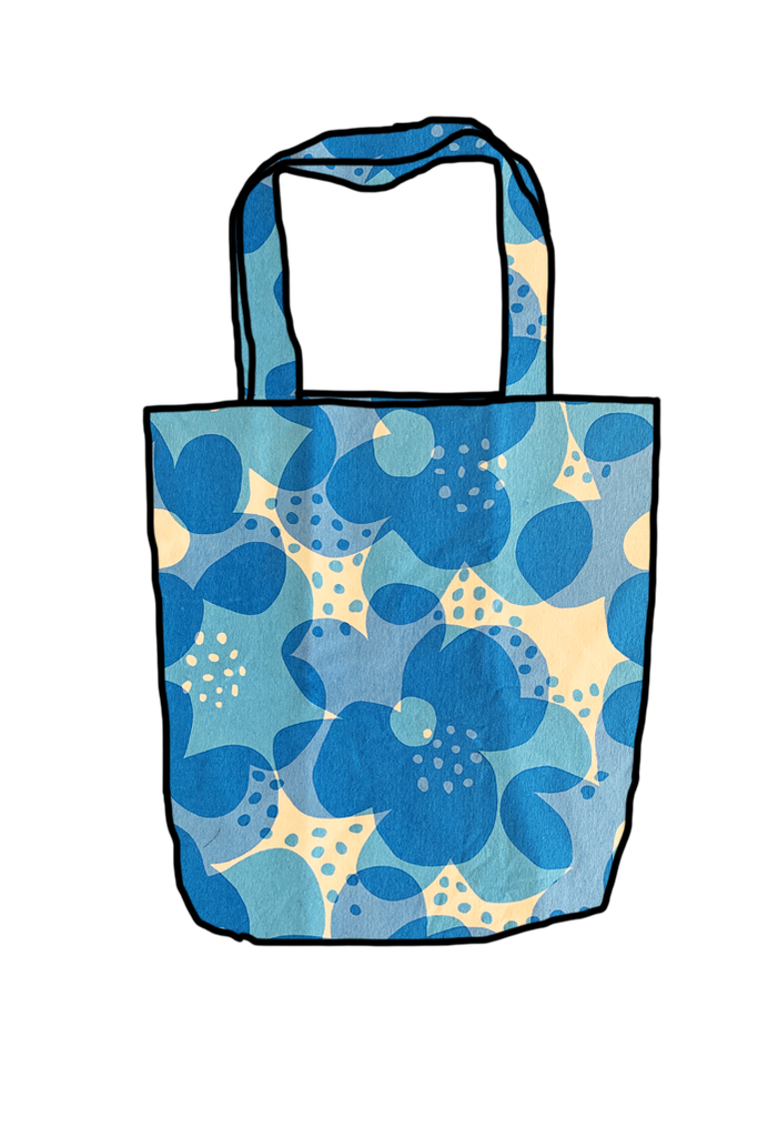 Blue Floral Reusable Shopping Bag
