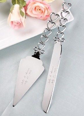 Silver Hearts Server Set-Wedding Cake Servers & Knives-Varnita Bridal Store