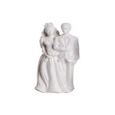 Glazed Ceramic Bride & Groom Figurines Cake Topper-Wedding Cake Toppers-Varnita Bridal Store