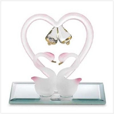 Glass Love Swans Kissing on a Heart on Base-Wedding Cake Toppers-Varnita Bridal Store