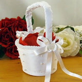 White Flower Girl Basket with Pearl Accents-Flower Baskets-Varnita Bridal Store