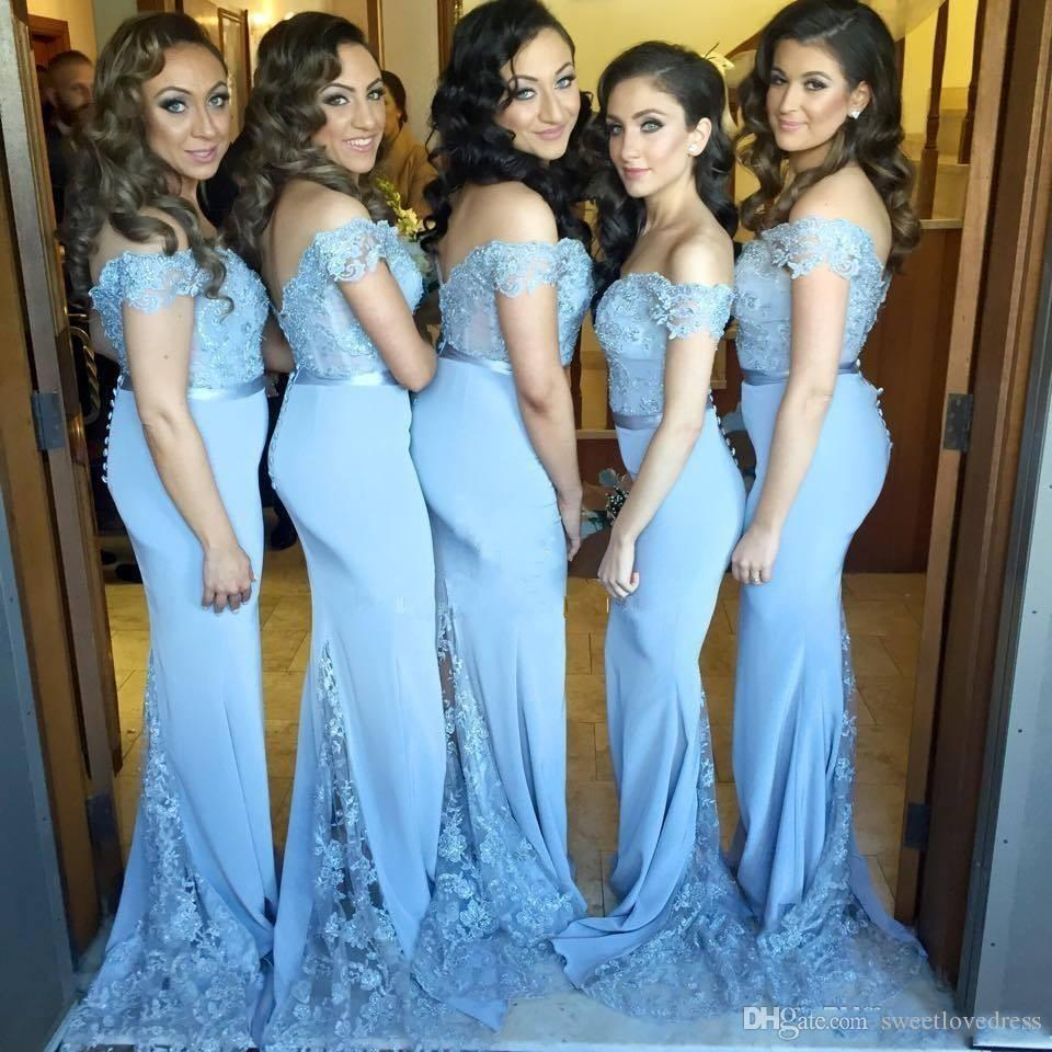 2017 Off Shoulder Light Blue Long Bridesmaid Dresses Beaded Lace ...