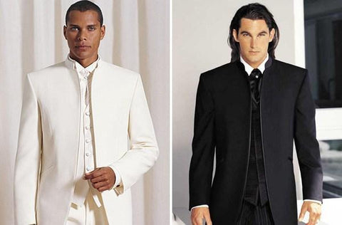 Black White No Button Formal Men Suits Groom Groomsmen Tuxedos ...