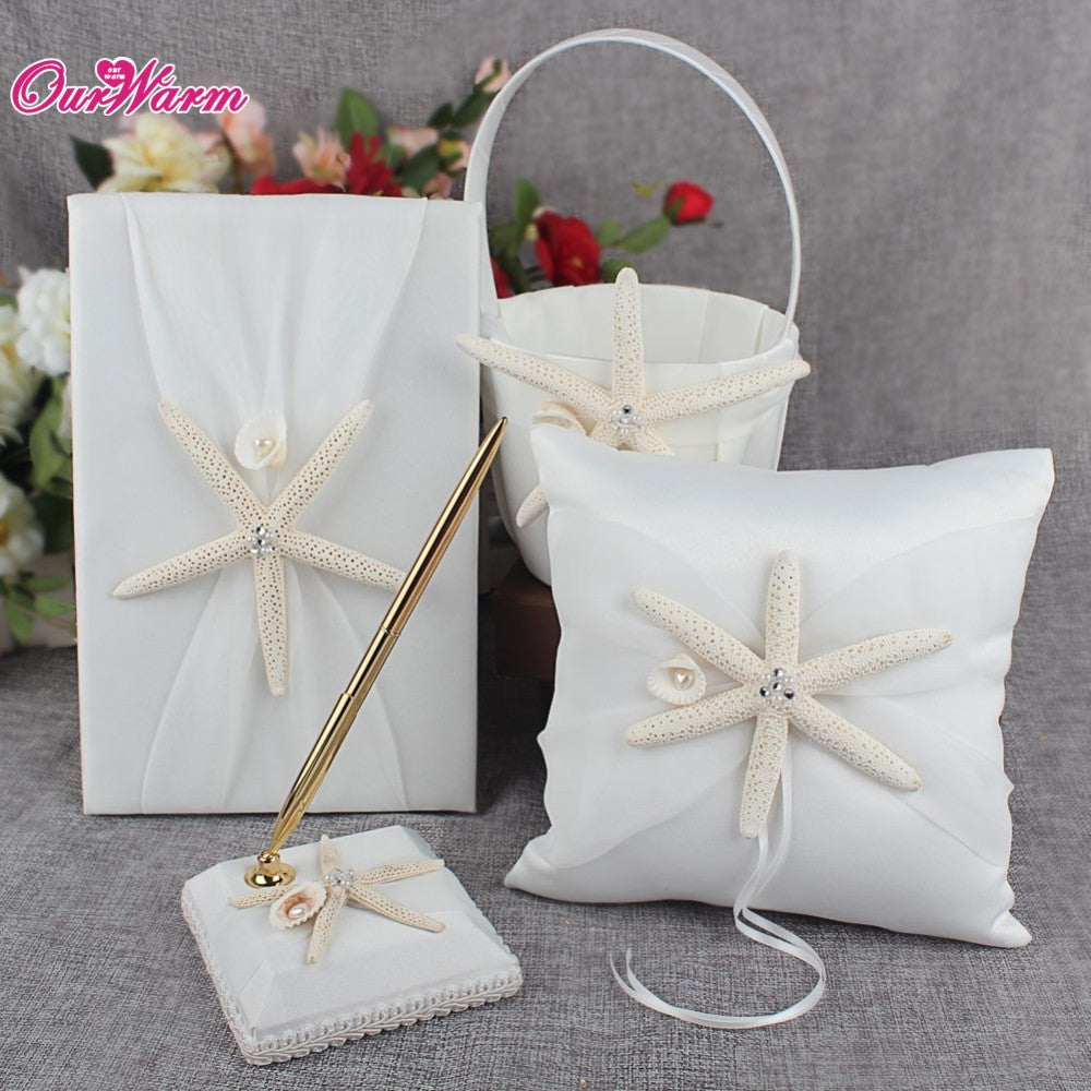 4Pcs/set Wedding Ring Pillow + Flower Basket + Wedding Guest Book + ...