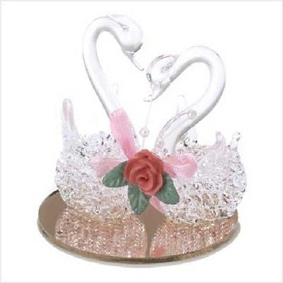 BEAUTIFUL TWIN SWANS-SPUN GLASS WEDDING CAKE TOP Clear, Crystal/Glass, Romantic-Wedding Cake Toppers-Varnita Bridal Store