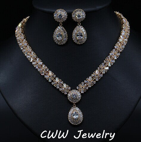 Luxury White Gold Plated Elegant Shape Bridal CZ Diamond Necklace and Earrings Big Wedding Jewelry Sets For Brides (T103)-Jewelry-Varnita Bridal Store