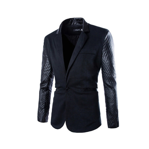 2015 New Arrival Casual Slim Fit Stylish Patchwork Mens Blazers High Quality Men's Blazer Jacket Suits-Varnita Bridal Store