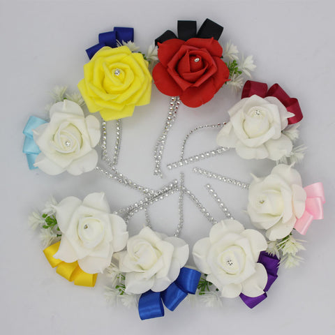 1 pieces Best Man boutonniere for Groom groomsman Pe rose flower Wedding suit corsage accessories pin brooch decoration