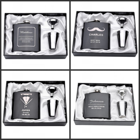 Set of one Personalized Engraved 6oz Hip Flask Stainless Steel Funnel Gift Box +2 Glass Wedding Decor Favor-Decoration-Varnita Bridal Store