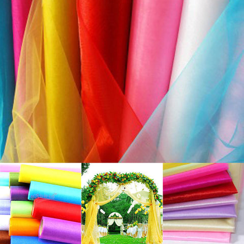 Cheap Sale! High Quality 75cm Wide Sheer Crystal Organza Fabric For Wedding Decoration 18 Colors Choose 10m/lot Free Shipping-Varnita Bridal Store