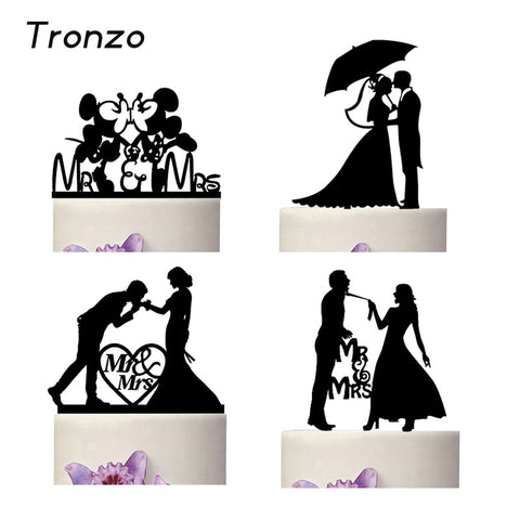 Tronzo New Romantic Black Acrylic Cake Topper Mr Mrs Lover Cake Decorating Supplies For Wedding Decoration Valentine's Day