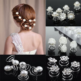 12pcs Princess Crystal Rhinestone Flower Pearl Hair Clips Hairpin for Women Bride Wedding Jewelry Accessories Wholesale-Varnita Bridal Store