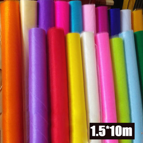 1.5m Wide * 10m Long Crystal Organza Tulle Roll Fabric Drapes For Wedding Mariage Birthday Baby Shower boda Party Decor Supplies-Varnita Bridal Store