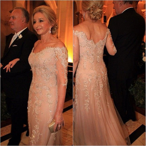 2016 Elegant Mother Of The Bride Dresses A-line Half Sleevees Champagne Long Lace Party Dresses Mother Dresses For Wedding-Varnita Bridal Store