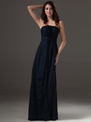 2014 Chic Winter Discount Party Maxi Navy Long A Line Chiffon Sweetheart Empire Waist Girls Bridesmaid Dress For Wedding-Bridesmaids Dresses-Varnita Bridal Store