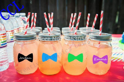"3"" x 1.75"" Large Bow Tie Wedding Chalkboard Mason Jar Drink Labels Little Man Bachelor Party Wine Glass Label Photo Props Drink-Bachelor-Varnita Bridal Store"