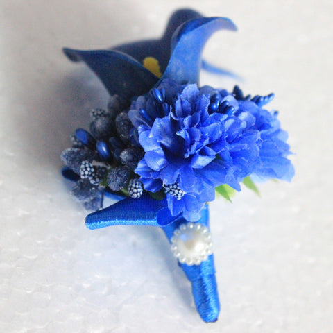 1 Piece Royal Blue calla flower Corsage Groom groomsman Wedding party Man suit men Boutonniere Prom pin brooch Lapel Flower-Boutonniere-Varnita Bridal Store