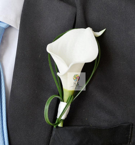 1 pcs lot white calla lily flower Corsage Groom groomsman Wedding party Man suit men Boutonniere pin brooch Hot Lapel Flower-Boutonniere-Varnita Bridal Store