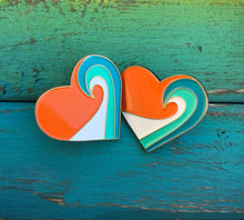 "Sunset Wave Heart Pin (1"")"