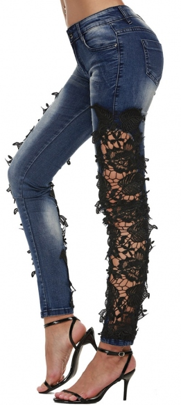 Set-the-Lace Cutout Jeans